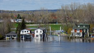 Flooded community in Quebec