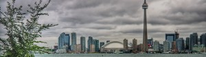 Toronto skyline with CN tower on a gloomy, cloudy evening