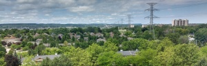 Burlington skyline - aerial view of houses and trees on a sunny day